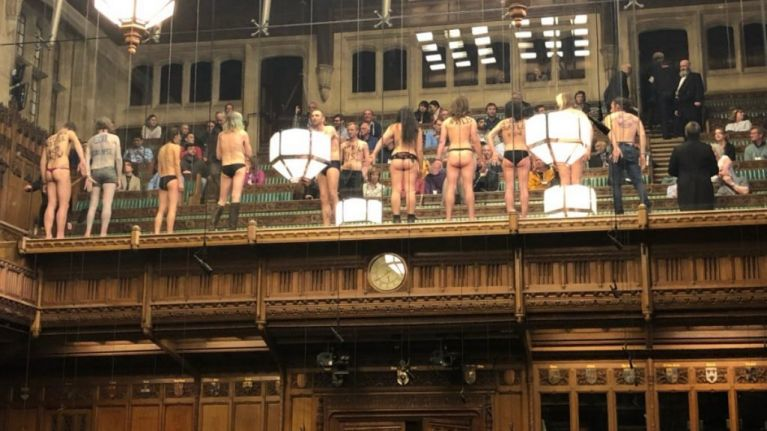 Brexit debate interrupted as protestors get naked in the House of Commons