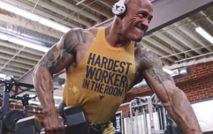Man paints unbelievable picture of The Rock using a dumbbell