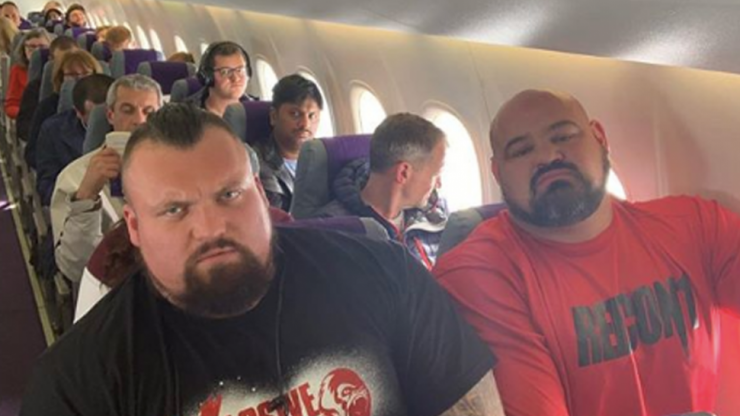 Eddie Hall and Brian Shaw forced to sit next to each other on budget flight