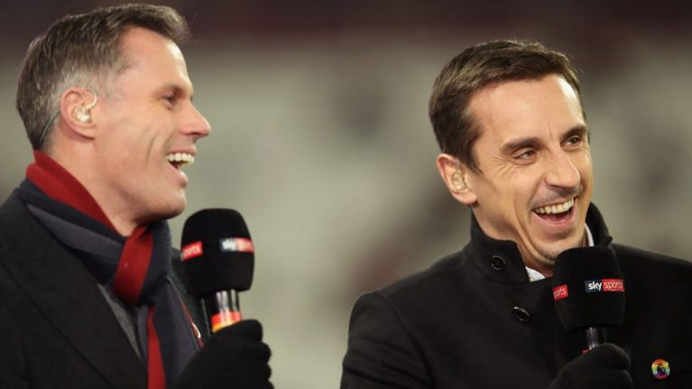 Jamie Carragher comes to Gary Neville's defence after dressing down from Roy Keane