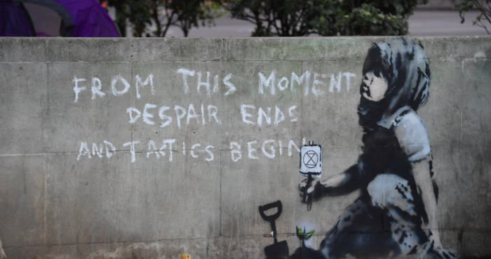 Suspected Banksy artwork discovered at Extinction Rebellion site in Marble Arch