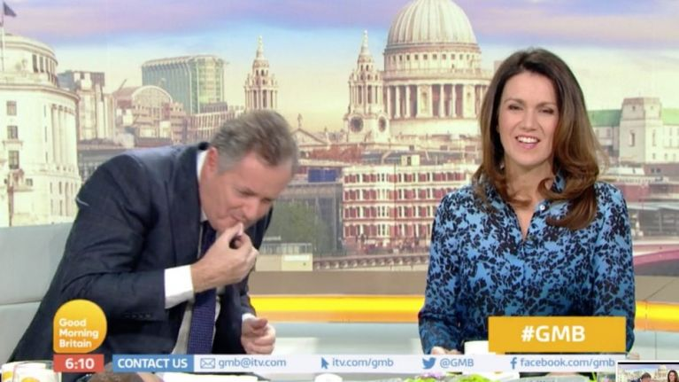 Grown man Piers Morgan spits Percy Pigs out live on air because they are vegetarian