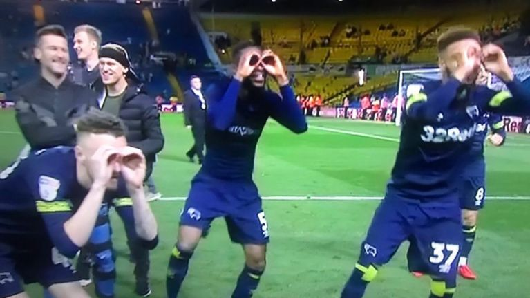 Derby players mock Leeds with spygate celebration after playoff win