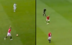 Beckham and Scholes ping the ball about like it's 1999 at Old Trafford legends match