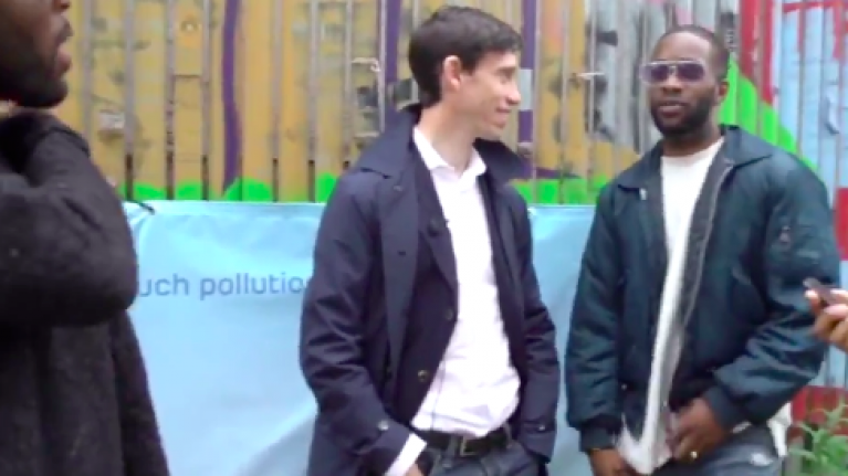 Tory leadership candidate Rory Stewart posts awkward video of him meeting three guys in east London