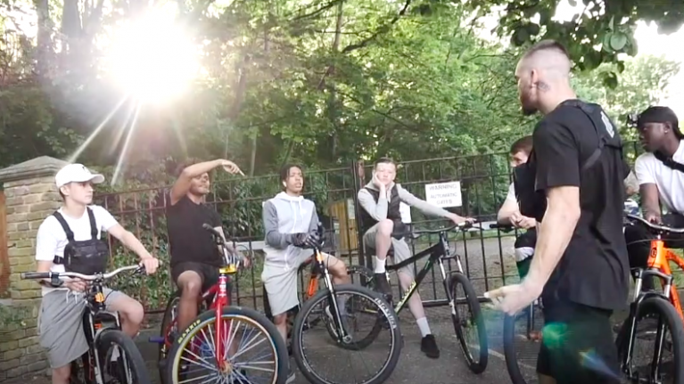 The BMX riders using their bikes to keep people away from knife crime