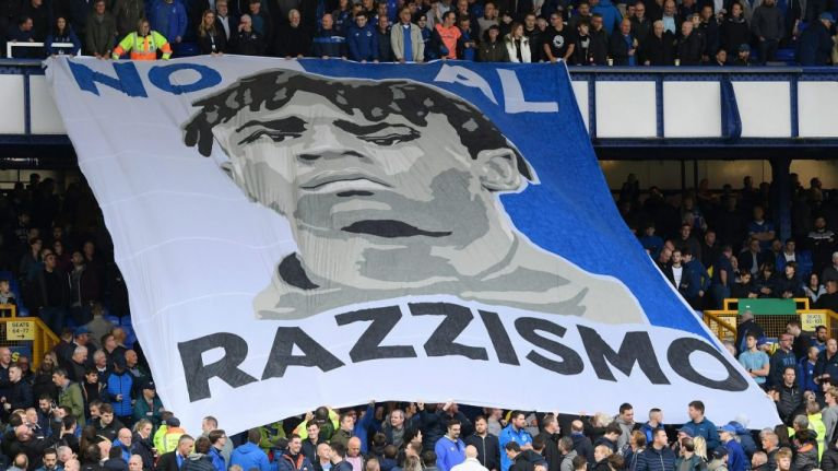 Liverpool supporters help fund Everton fan group's Moise Kean anti-racism banner