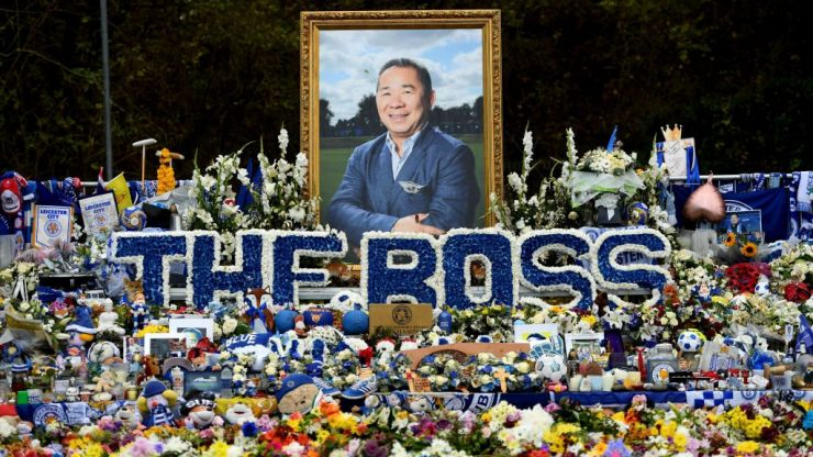 Leicester fans pay tribute to Vichai Srivaddhanaprabha, a year on from his death