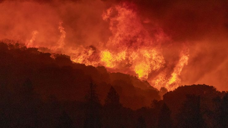 Images lay bare the devastation of wildfires blazing across California