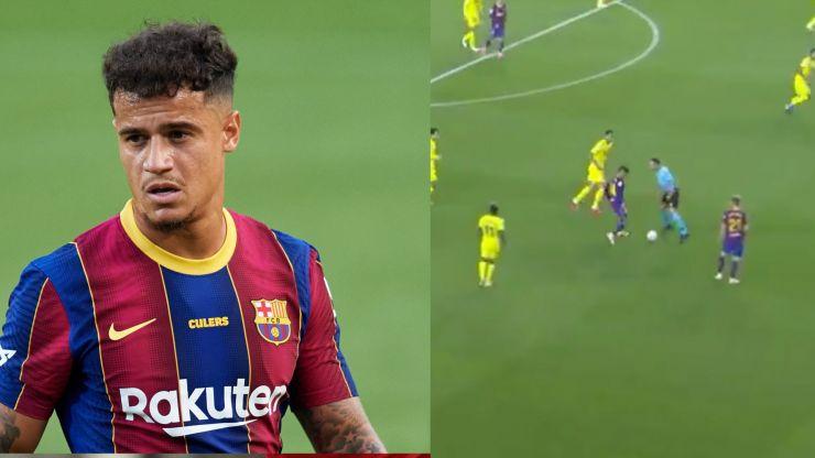 Philippe Coutinho nutmegs referee on Barcelona return
