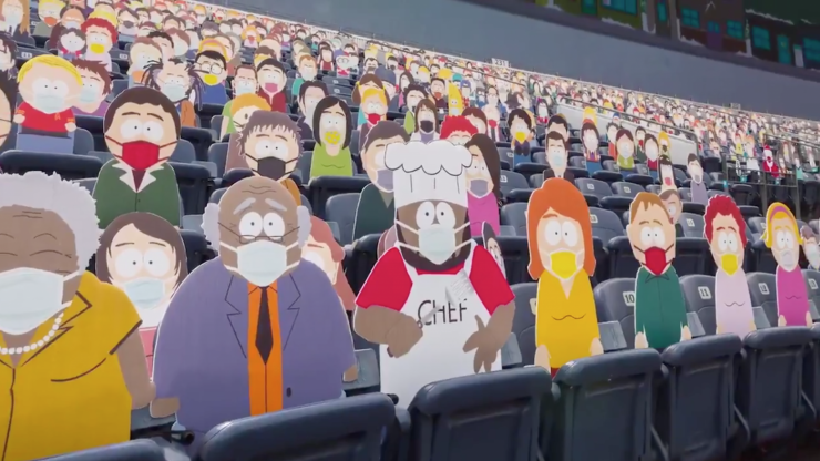 Hundreds of South Park cutouts used to fill empty NFL stands
