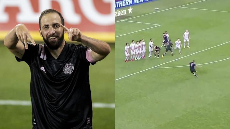 Gonzalo Higuain scores stunning free-kick for first MLS goal