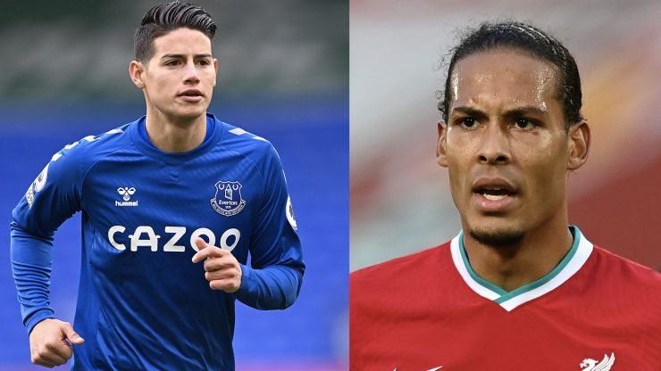 Everton's James Rodriguez injured by Virgil van Dijk