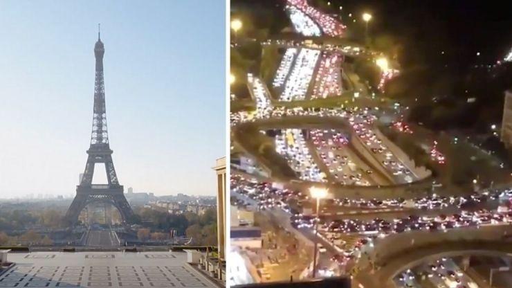 Chaotic scenes as people flee Paris ahead of second lockdown