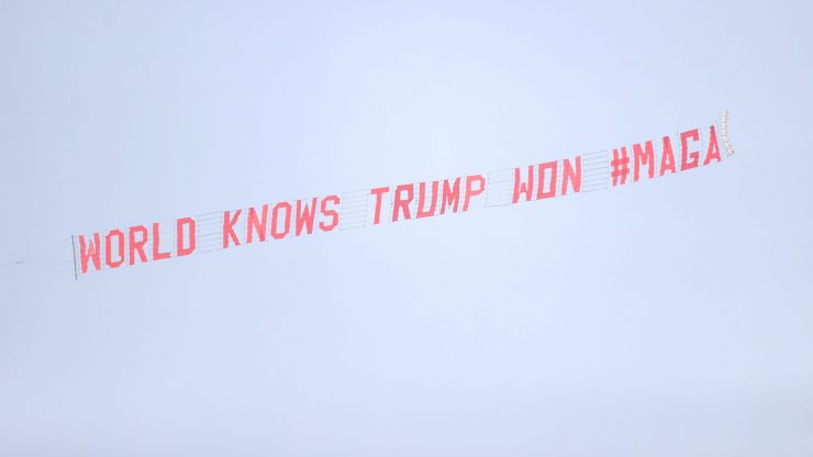 MAGA banner flown over Goodison Park during Manchester United vs Everton
