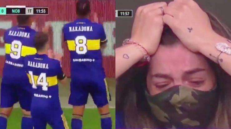Diego Maradona's daughter in tears after emotional Boca Juniors goal celebration