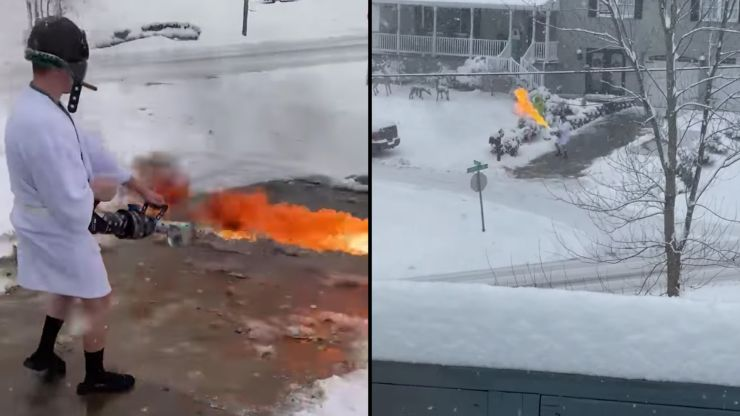 Napalm in the morning: Enterprising man flamethrowers snow off his drive