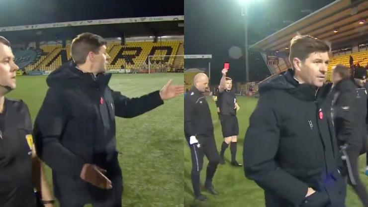 Steven Gerrard sent off during Rangers game for berating referee