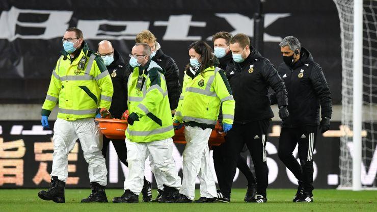 Rui Patricio stretchered off suffering head injury in collision with Conor Coady