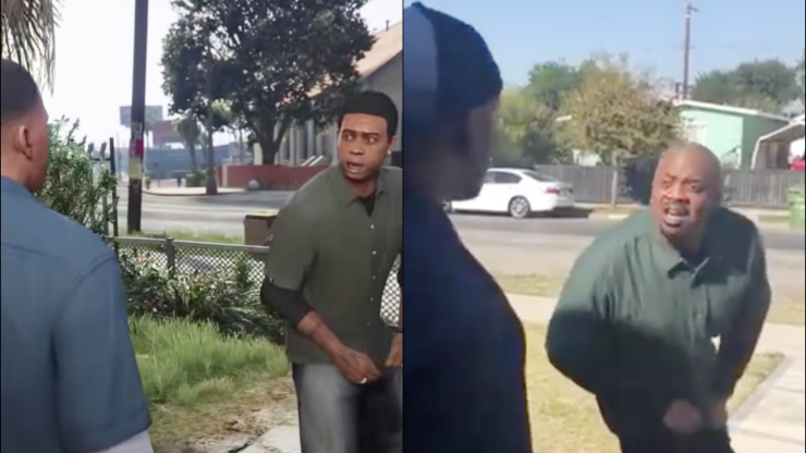Grand Theft Auto V actors recreate famous cut scene in viral video