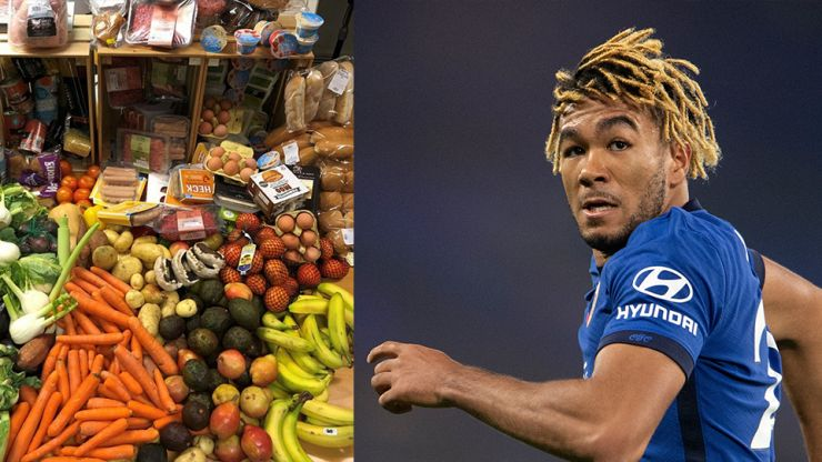 Reece James shows how much food can be provided by charity with £30 donation