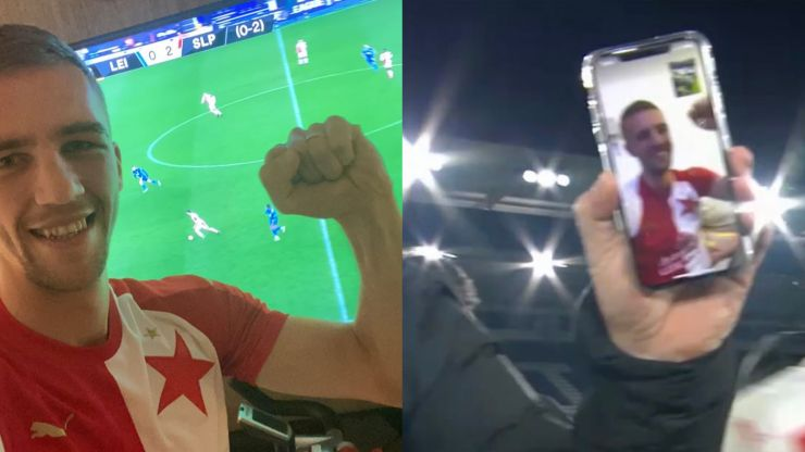 Slavia Prague players FaceTime Tomáš Souček after Leicester win