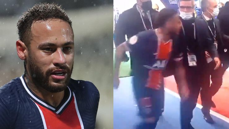 Neymar clashes in tunnel with Tiago Djalo after being sent off for PSG