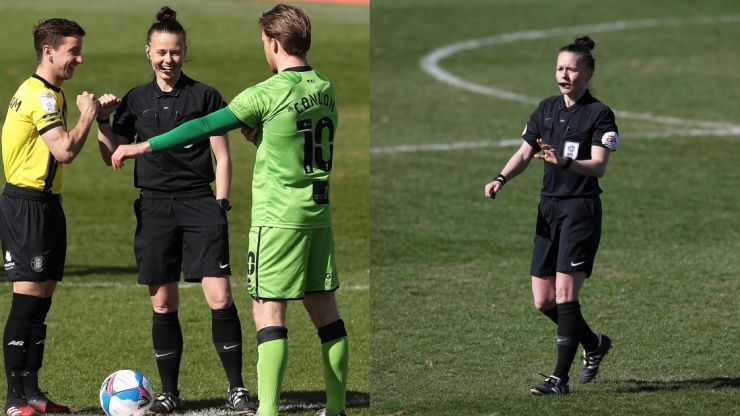 Rebecca Welch becomes first female referee to officiate EFL game