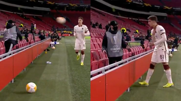 Roma player gives dignified response after angry Ajax ballboy launches ball at him