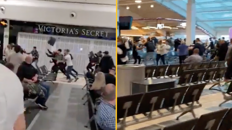 Mass brawl at Luton Airport leaves three in hospital and 17 arrested