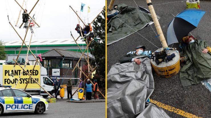 Animal rights protestors stage blockade at McDonald's distribution centres