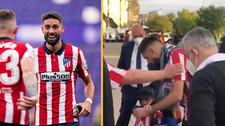 Yannick Carrasco gives shirt to Atletico Madrid fan injured in celebrations