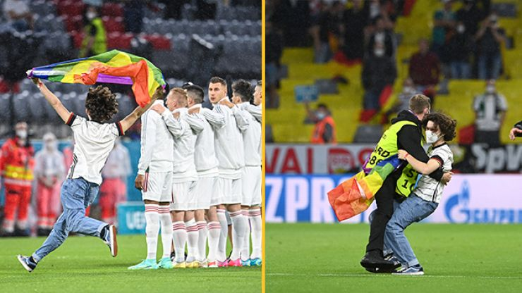 Fan invades pitch with rainbow flag before Germany vs Hungary