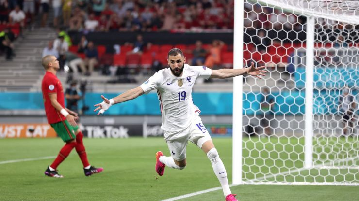 Both of Karim Benzema's goals vs Portugal were scored on the 46th minute, 44 seconds