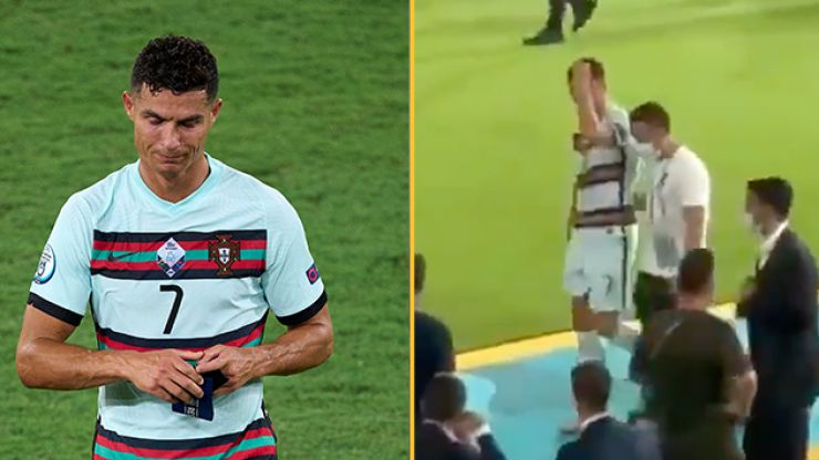 Angry Cristiano Ronaldo kicks armband away in disgust after Euro 2020 exit
