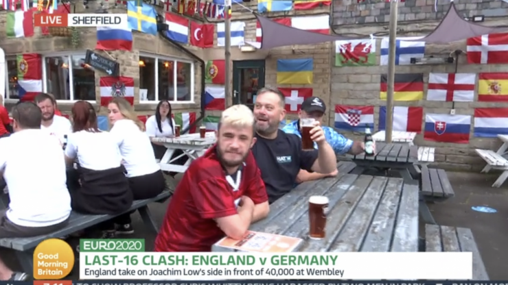 England fans in the pub since 7am ahead of tonight's fixture with Germany