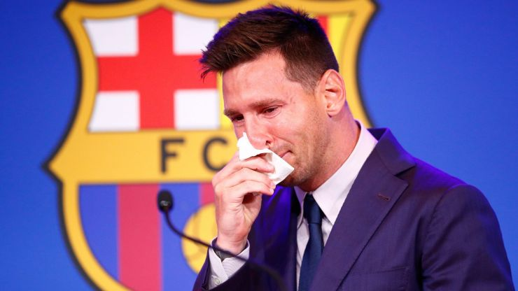 Tearful Messi bids farewell to Barca in emotional press conference