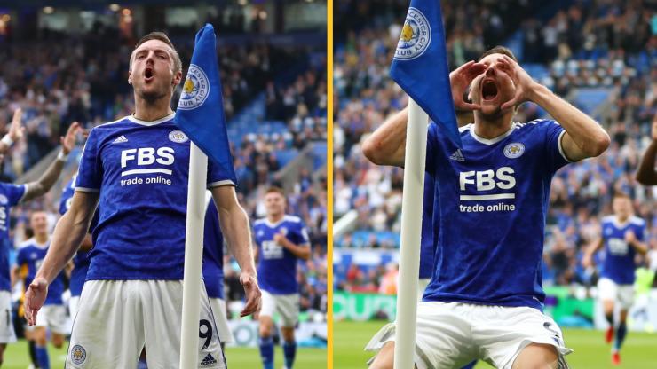 Jamie Vardy celebrates goal vs Wolves with his best shithouse celebration yet