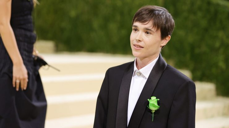 Here's why Elliot Page wore a green flower on his Met Gala suit