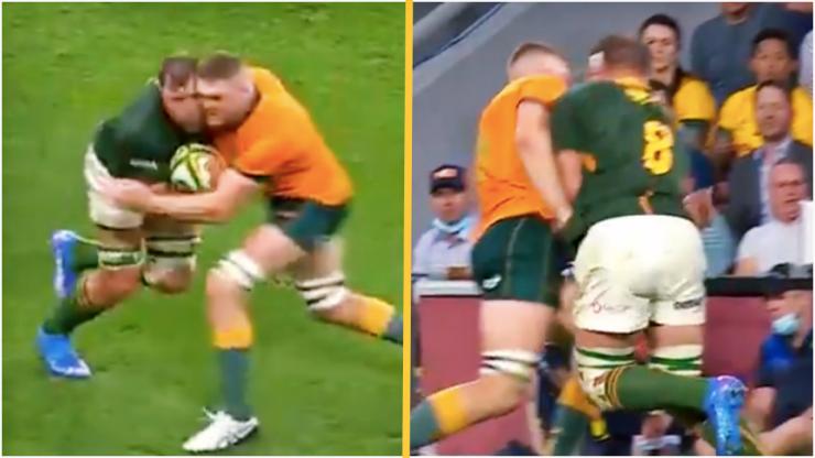 Wallabies star bounces off Duane Vermeulen like a brick wall, gets yellow-carded