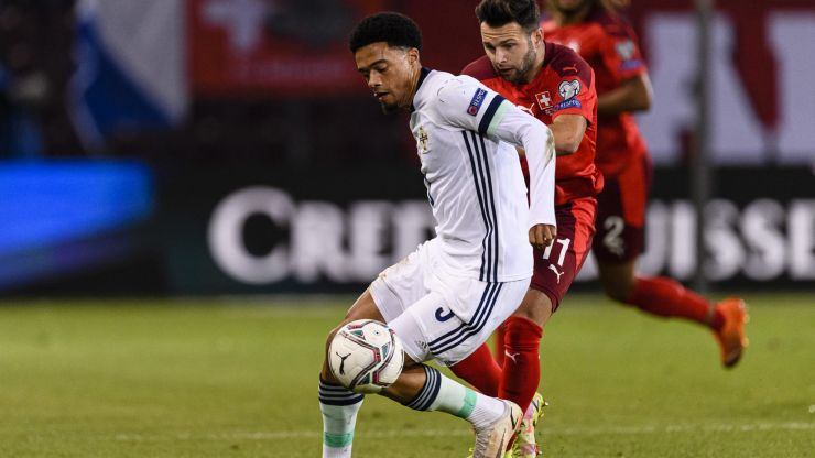 Jamal Lewis sent off for Northern Ireland after 'time wasting' on throw-in