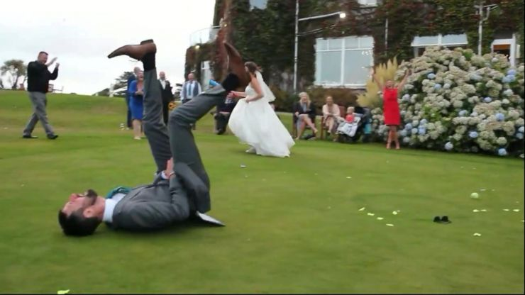 Bride whacks rounders ball into husband's groin and leaves entire wedding party in hysterics