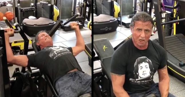Sylvester Stallone is still smashing the gym in ...