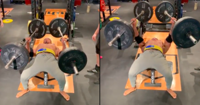 Powerlifter Larry Wheels bench presses with a staggering 110kg