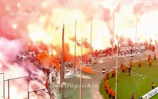 Video: Big game in Greece delayed due to crazy flare display and the presence of dead fish on the subs' bench