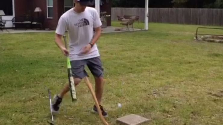Vine: This guy's trick shots involve golf, baseball and basketball, and they're class