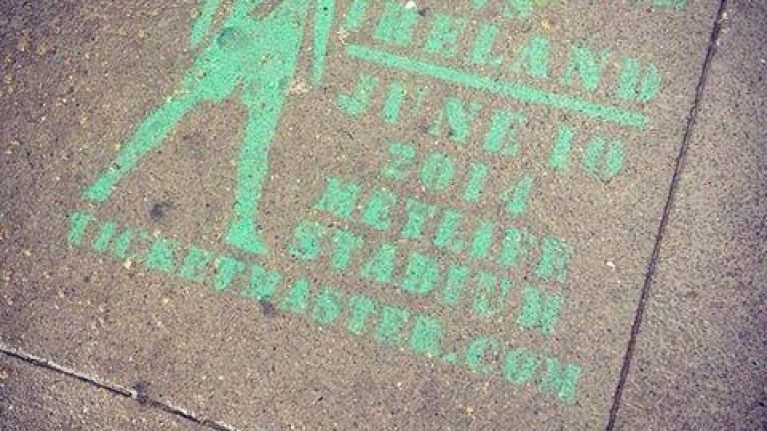 Pic: Squint and you'll just about make out this sidewalk ad for Portugal v Ireland in New Jersey