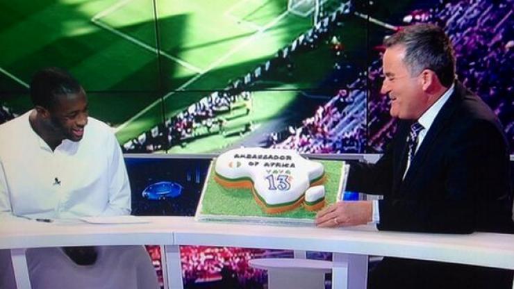 Pic: Richard Keys presents Yaya Touré with a birthday cake on beIN Sports