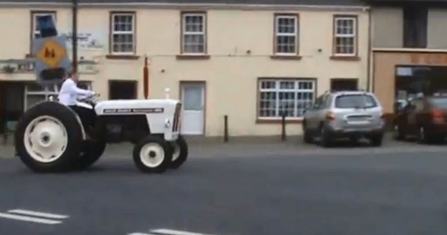 Tractor Going Right On Man : Video best man goes on epic journey featuring a bike