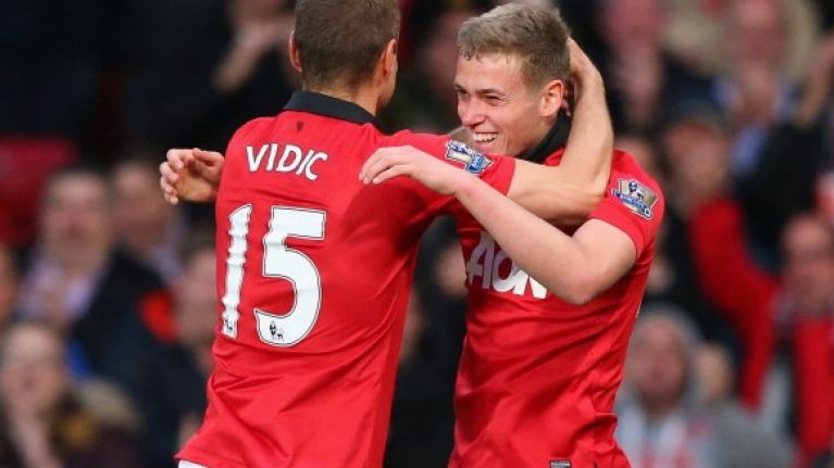 Vine: James Wilson scores on his debut to give Manchester United the lead against Hull